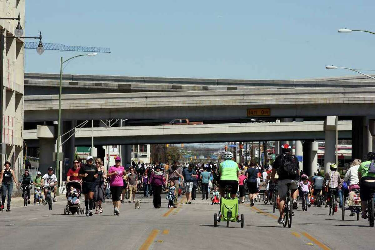 METRO -- Thousands participate in siclovia, (accents over the two i), along Broadway Street, Sunday, March 4, 2012. The event closed off a two-mile portion of Broadway for pedestrians, bike and bike riders. Jerry Lara/San Antonio Express-News