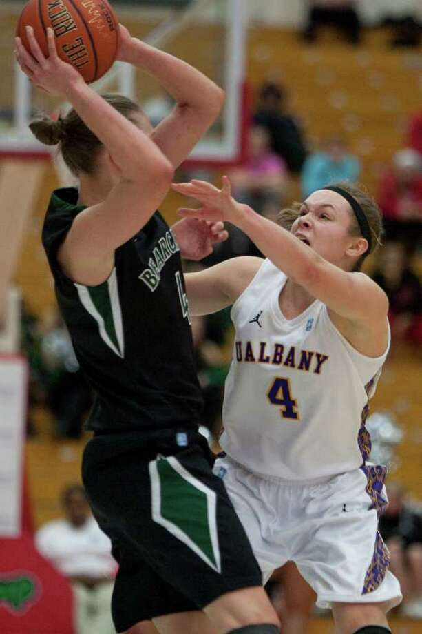Sarah Royals of UAlbany (right) presses Viive Rebane of Binghamton, during an America East Semifinal game where the Great Danes defeated Binghamton 58-50 at Chase Family Arena in Hartford, CT on March 4, 2012 (Shane Bufano/Special to the Times Union). Photo: Shane Bufano