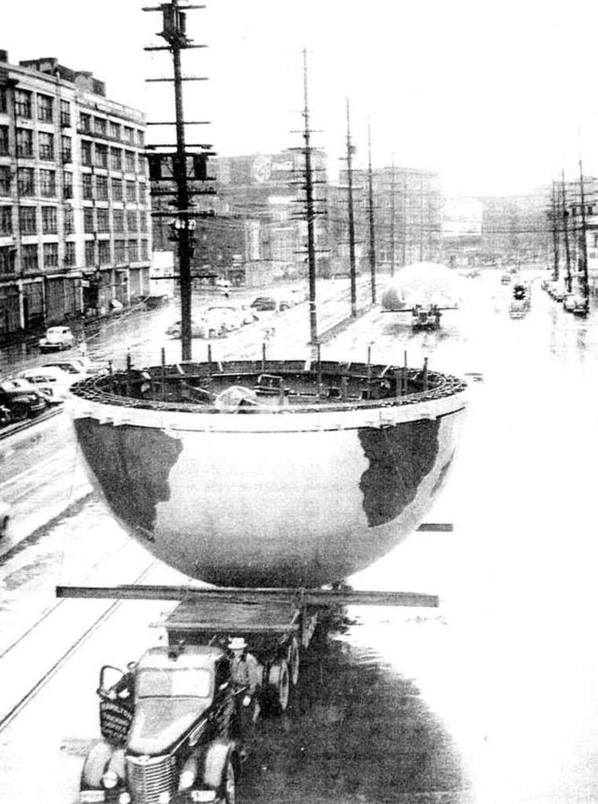 The globe on Alaskan Way, Nov. 1948.