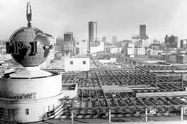 The globe in 1969 during a third-floor expansion of the Sixth and Wall building.