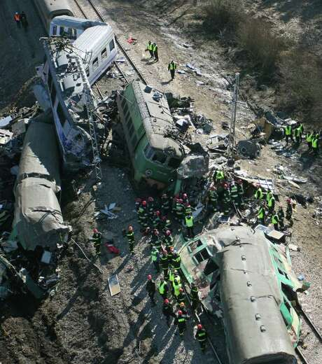 A photo taken by a paraglider shows the scene of the train collision near Szczekociny, Poland, on Sunday. It was Poland's worst train accident in two decades. Photo: Grzegorz Misiak / AP