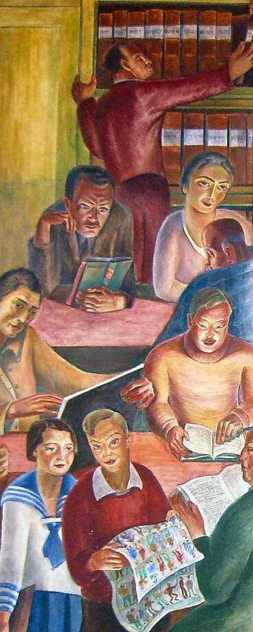 WPA artist and San Francisco resident, Bernard Zakheim (1896-1985) can be seen reading in the back of the room in his Library mural at Coit Tower Photo: Courtesy Of Lehrhaus Judaica
