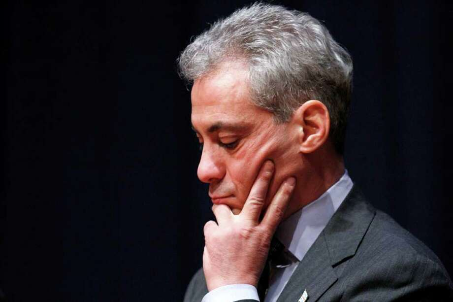 Chicago Mayor Rahm Emanuel listens during a forum on education at American University in Washington, Friday, March 2, 2012. (AP Photo/Jacquelyn Martin) Photo: Jacquelyn Martin