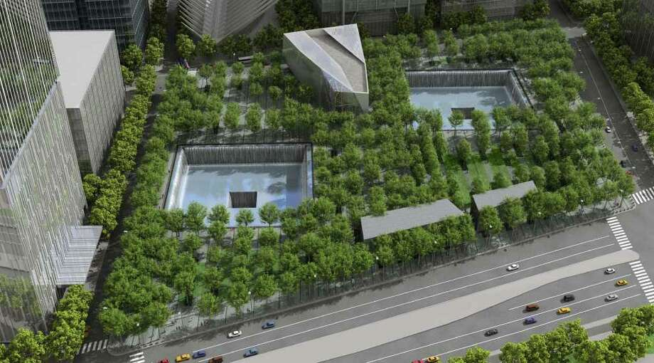 This artist's rendering provided by the National September 11 Memorial & Museum shows an aerial view of the proposed memorial quadrant. The museum unveiled the design Tuesday, Sept. 9, 2008, for the entrance pavilion, top center, and repeated hopes that a new construction schedule at ground zero would allow the memorial to open by the attacks' 10th anniversary. (AP Photo/National September 11 Memorial & Museum, Squared Design Lab) **NO SALES** / National Sept. 11 Memorial & Mus