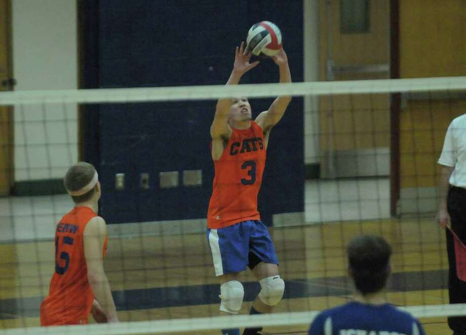 Zach Berzal of Catskill passes to a teammate during the Boy's Section II Class B Volleyball Championships on Sunday, March 4, 2012 at Hudson High School in Hudson, NY.  (Paul Buckowski / Times Union) Photo: Paul Buckowski