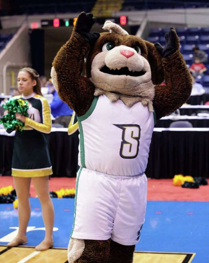 3/4/12 MassMutual Center, Springfield - Republican staff photo by Michael Beswick - The MAAC Semi-Finals were held at the MassMutual Center in Springfield Sunday.  Trying to reach the finals is New York's Siena and Maryland's Loyola. Siena's mascot getting the fans rowdy before the game.