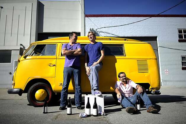 (L-R) Partners Chip Forsythe, Bo Silliman, and Brandon Allen pose for a portrait in front of  their VW bus.  The bus had been used for distribution until it was broken into and rendered inoperable.  SLOdown Wine Co. in San Francisco Saturday Feb. 25th, 2012 Photo: Michael Short, Special To The Chronicle
