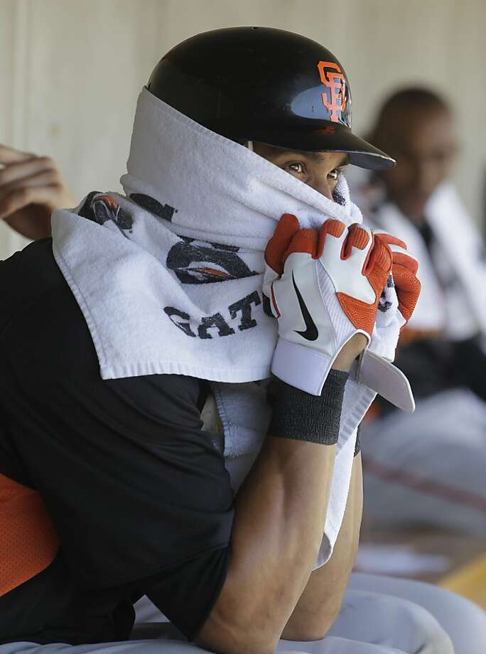 San Francisco Giants' Angel Pagan covers his face with a towel during the second inning of a spring training baseball game against the Arizona Diamondbacks, Sunday, March 4, 2012, in Scottsdale, Ariz.  The game was delayed for 41 minutes because of a swarm of bees. (AP Photo/Darron Cummings) Photo: Darron Cummings, Associated Press