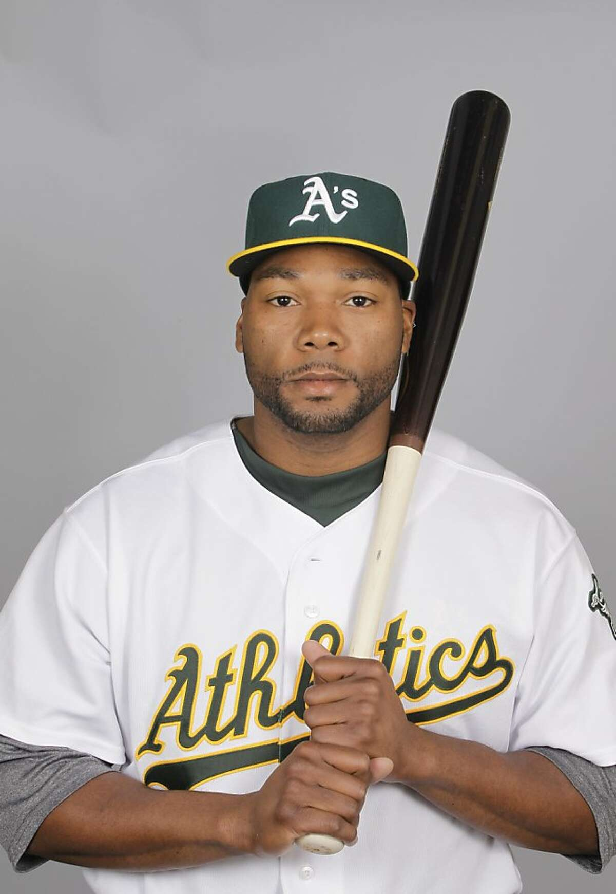 This is a 2012 photo of Brandon Allen of the Oakland Athletics baseball team. This image reflects the Oakland Athletics active roster as of Feb. 27, 2012 when this image was taken. (AP Photo/Darron Cummings)