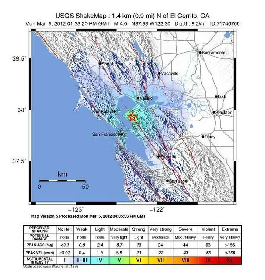 Location and intensity of a 4.0 earthquake that struck near El Cerrito, Calif. this morning. Photo: Usgs