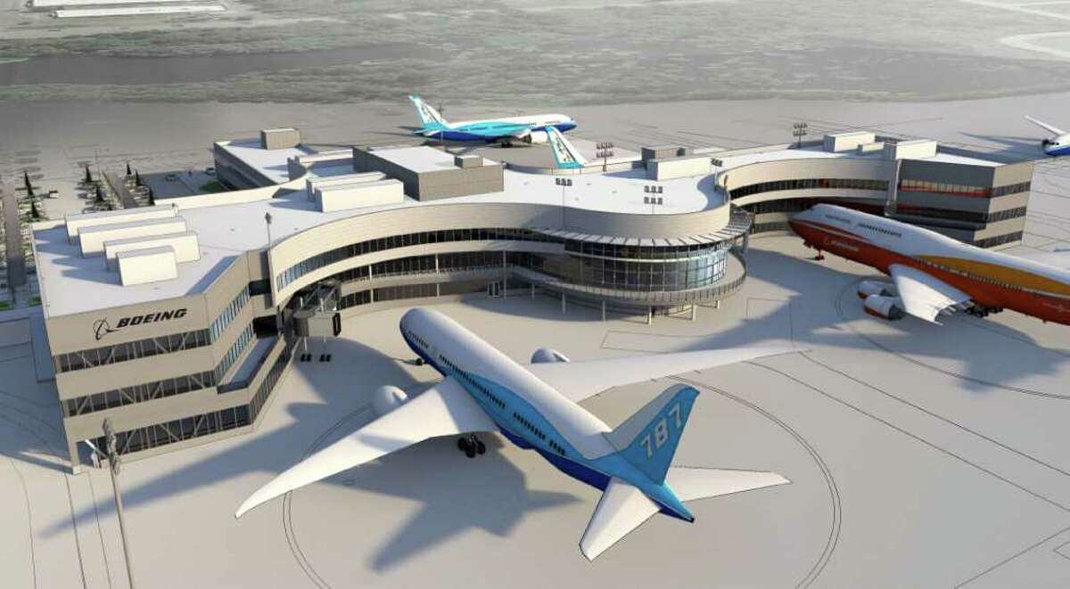 An artist's depiction of Boeing's new Everett Delivery Center from the west.