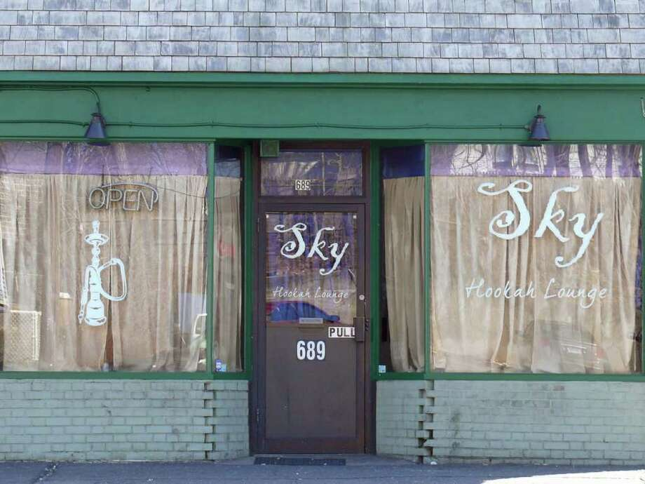 Police were called to Sky Hookah Lounge, 689 Kings Highway East, early Sunday morning on the report of a large fight. There have been 11 police calls to the hookah lounge so far this year. Photo: Genevieve Reilly / Fairfield Citizen