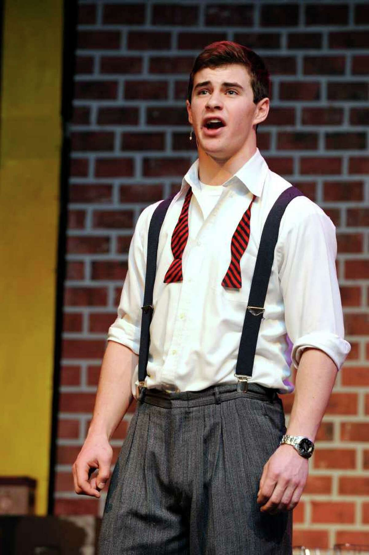 """Sam Gravitte plays Sid Sorokin in Ridgefield High School's production of the """"The Pajama Game."""" The play will be performed March 9, 10, 16 and 17. Photo taken Friday, March 2, 2012."""