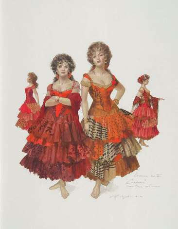 "Robert Perdziola's costume designs for ""Carmen"" are part of ""Baroque to Bauhaus."""