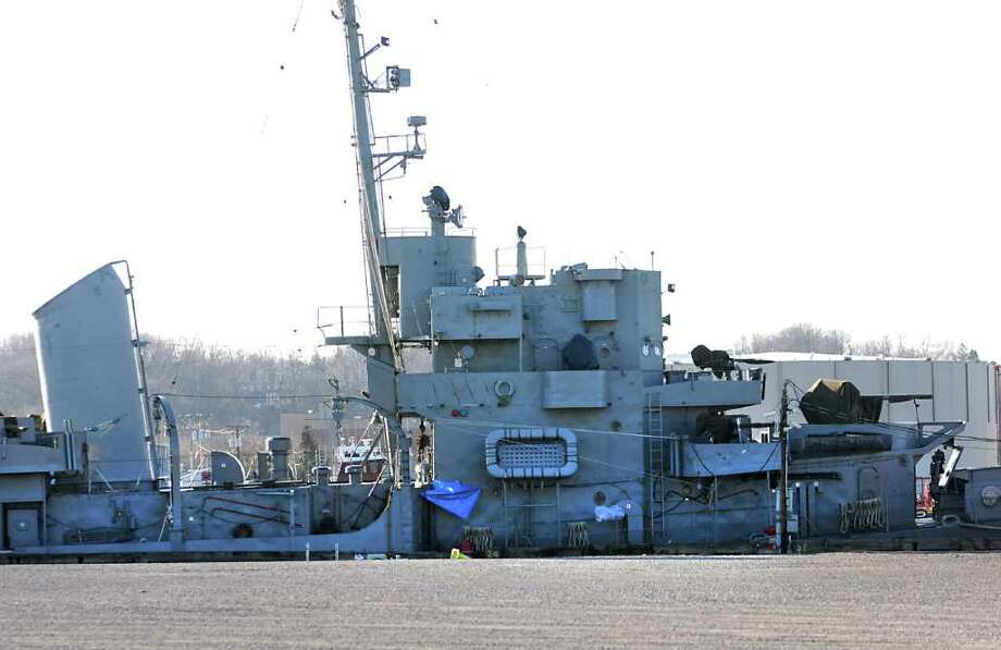 The USS Slater is docked at the Rensselaer side of the Hudson River for the winter Monday, March 5, 2012 in Rensselaer, N.Y. U.S. Senator Kirsten Gillibrand announced today that the U.S. Department of the Interior is set to designate the USS Slater, one of the remaining World War II naval ships and only destroyer escort afloat in the United States, as a National Historic Landmark. (Lori Van Buren / Times Union)l Photo: Lori Van Buren