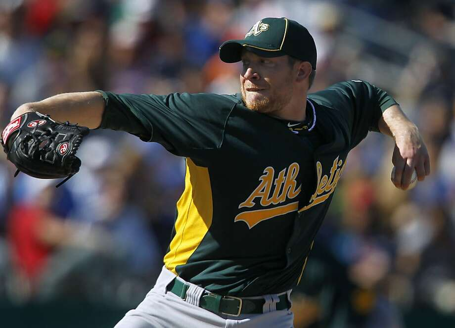 "Converted A's reliever Sean Doolittle has ""three great pitches,"" including an overpowering fastball, catcher Max Stassi says. Photo: Paul Chinn, The Chronicle"