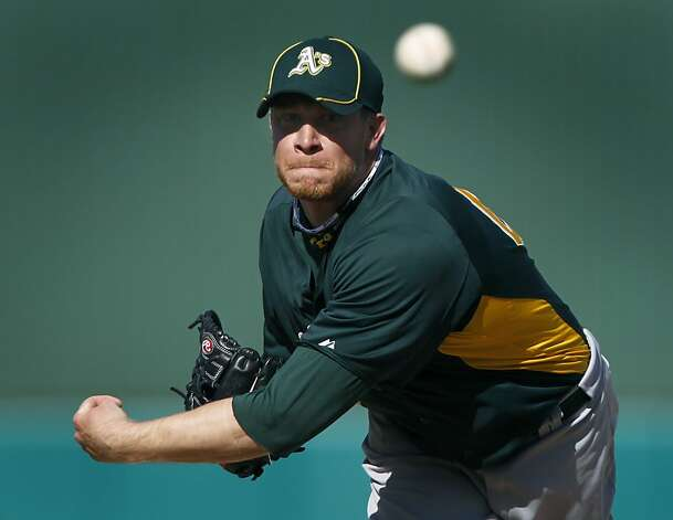 Reliever Sean Doolittle faced four batters in the 7th inning of the Oakland A's Cactus League spring training game against the Chicago Cubs in Mesa, Ariz. on Sunday, March 4, 2012. Doolittle converted to a pitcher after playing at first base. Photo: Paul Chinn, The Chronicle