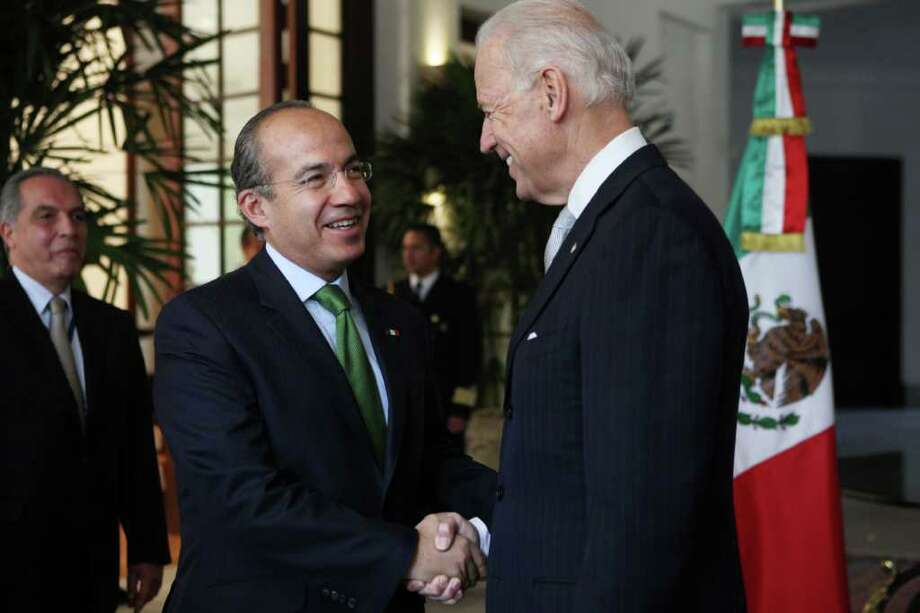 Mexico's President Felipe Calderon, left, shakes hands with U.S. Vice President Joe Biden at Los Pinos presidential residence in Mexico City, Monday March 5, 2012.  Biden is on a one-day visit to Mexico. Photo: AP