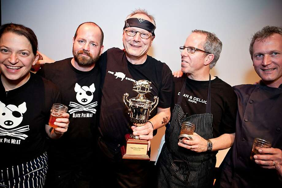 Cochon 555 Napa winner Lars Kronmark of the Culinary Institute of America at Greystone (center) celebrates with fellow competitors Duskie Estes, John Stewart, Michael Tuohy, and Mark Dommen (L to R). Photo: Huge Galdones