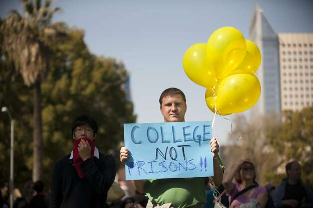Mark Chamberlain, a student at Sierra College in Rocklin, joined thousands of other students during an education rally at the Capitol in Sacramento Monday, March 5, 2012.  An annual event, this year with an Occupy flavor, protests demanded a stop to cuts to higher ed, a halt to plans for annual tuition increase, and to urge support for the MIllionares Tax. Photo: Anne Chadwick Williams, Special To The Chronicle