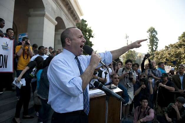Senate President pro Tem Darrell Steinberg tells the thousands of students, teachers, and supporters gathered on the west steps that they should be mad during an education rally in Sacramento, Monday, March 5, 2012.  An annual event, this year with an Occupy flavor, protests demanded a stop to cuts to higher ed, a halt to plans for annual tuition increase, and to urge support for the MIllionares Tax. Photo: Anne Chadwick Williams, Special To The Chronicle