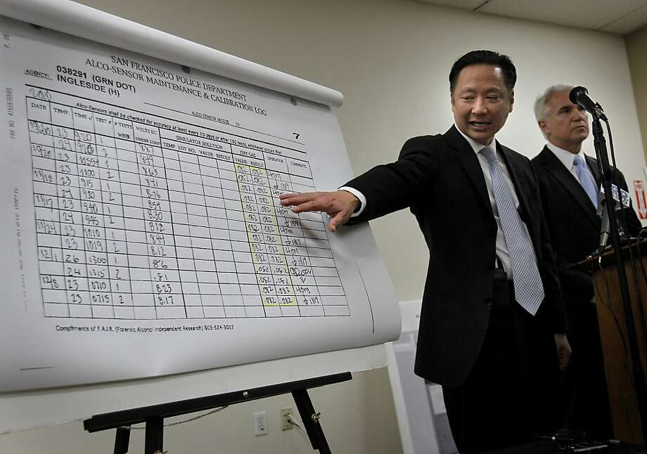 San Francisco Public Defender Jeff Adachi (left) and District Attorney George Gascon (right) announced a troubling development in DUI arrests, questioning the reliability of the testing, and suggesting a review of thousands of DUI convictions may be warranted. Photo: Brant Ward, The Chronicle