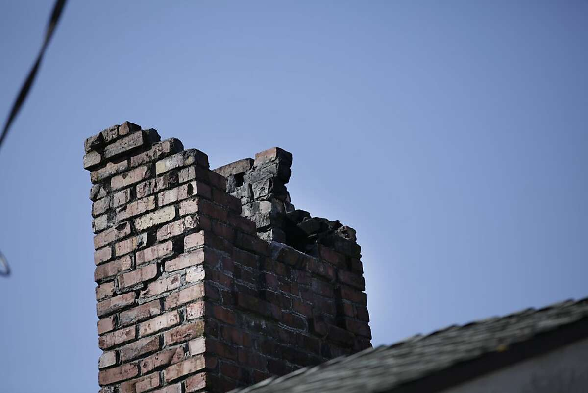 Part of chimney which fell during the earthquake on Monday morning is seen on Monday, March 5, 2012 in Berkeley, Calif.