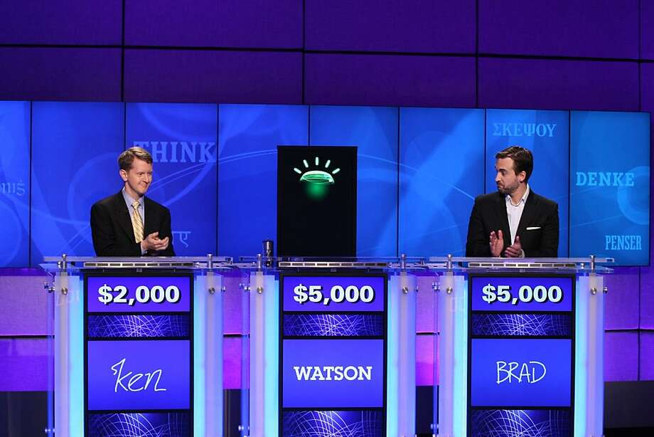 "In this undated publicity image released by Jeopardy Productions, Inc., contestants Ken Jennings, left, and Brad Rutter and a computer named Watson compete on the game show ""Jeopardy!"" in Yorktown Heights, N.Y. Photo: Carol Kaelson, AP"