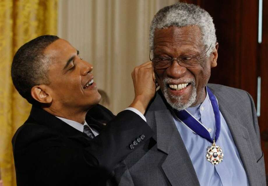 NBA legend Bill Russell, right, is seen with President Obama.