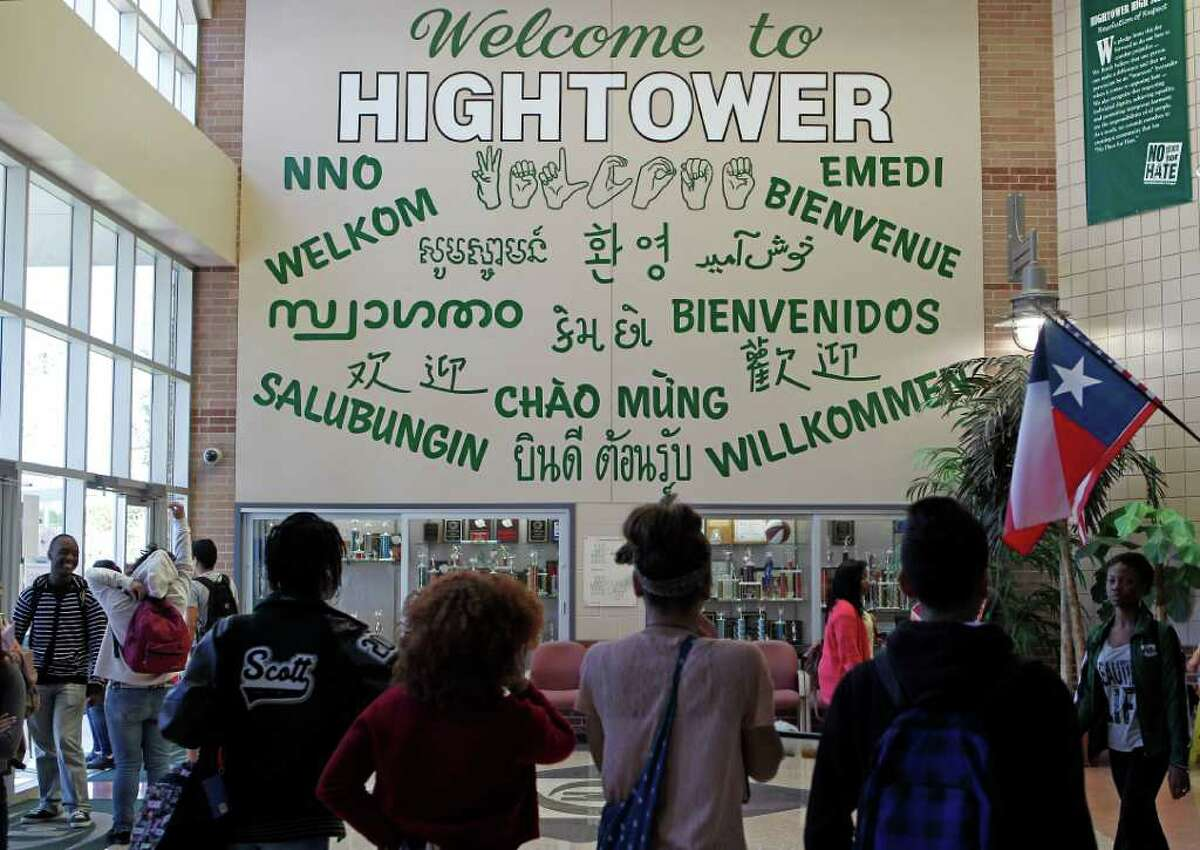 A multi-language mural hangs at Hightower High School in Missouri City, one of Houston's most diverse suburbs.