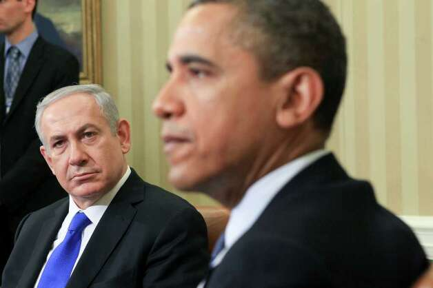 Israeli Prime Minister Benjamin Netanyahu meets with President Barack Obama in the Oval Office of the White House in Washington, March 5, 2012. During the meeting Monday, the prime minister was expected to continue to pressure the U.S. to take a harder line on Iran. (Doug Mills/The New York Times) Photo: DOUG MILLS / NYTNS