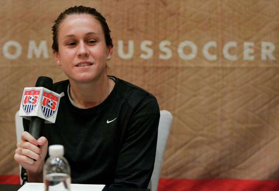 United States forward Heather O'Reilly answers questions during a press conference Wednesday, Sept. 19, 2007 in Shanghai, China. The U.S. will play England in the quarterfinals on Saturday in Tianjin. (AP Photo/Julie Jacobson) Photo: Julie Jacobson / AP