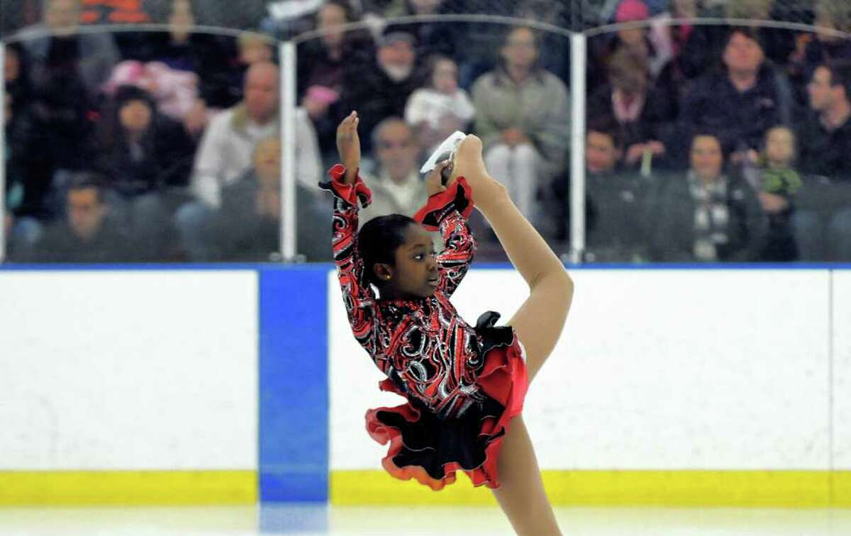 Sara Ansong, 10, skates during the 2012 Spring Ice Show, hosted by the Albany Figure Skating Club, at Albany Academy on Sunday March 4, 2012 in Albany, N.Y. 24 solo skaters performed, as well as groups including the Achilles Edge Synchronized Skating Teams.(Philip Kamrass / Times Union )