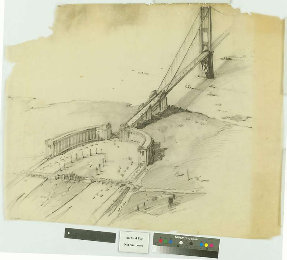 The early design schemes for the Golden Gate Bridge, such as this one from 1930 by then-consulting architect John Eberson, show the approach for San Francisco done up in the City Beautiful look popular in the early 20th century. Photo: John Eberson