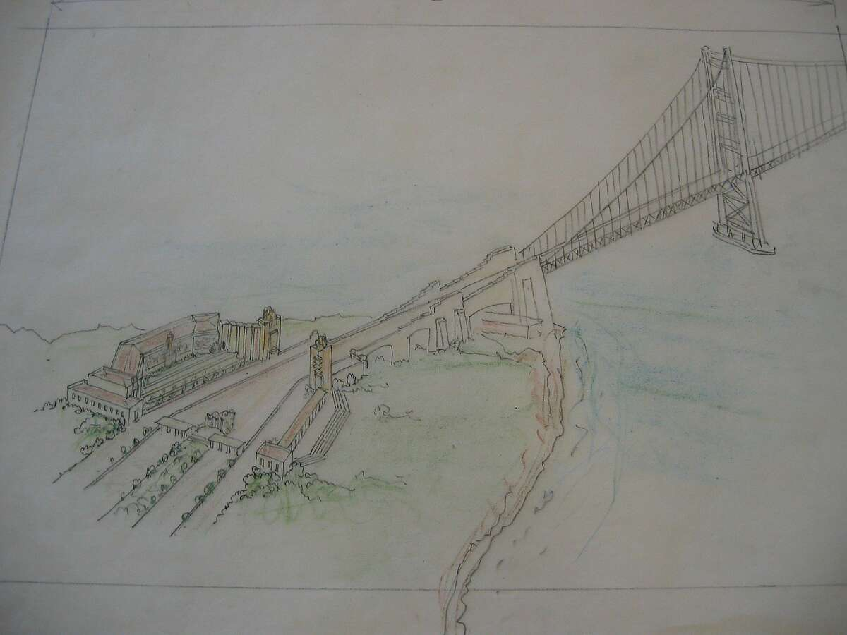 The portals and approach to the Golden Gate Bridge as designed by Irving Morrow. What exists is far simpler -- and given the setting, far better. (Courtesy the Environmental Design Archives at UC-Berkeley.)