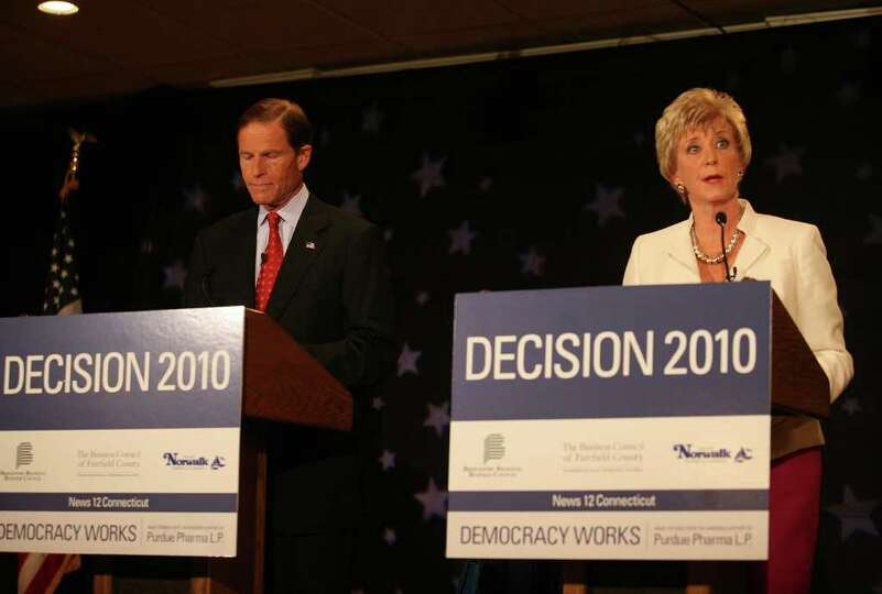Senate Democratic Candidate Richard Blumenthal debates Republican Candidate Linda McMahon at the Con