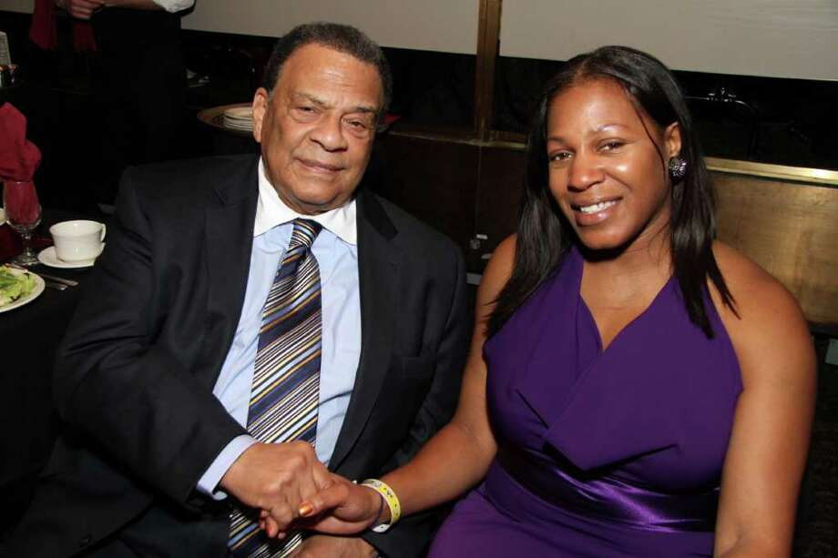 Fred Moody Albany Civil rights leader and keynote speaker Andrew Young, and Tania Tinley-Porter, past steward and area governor for Toastmasters, attend the Black and Puerto Rican Caucus dinner on Feb. 19.