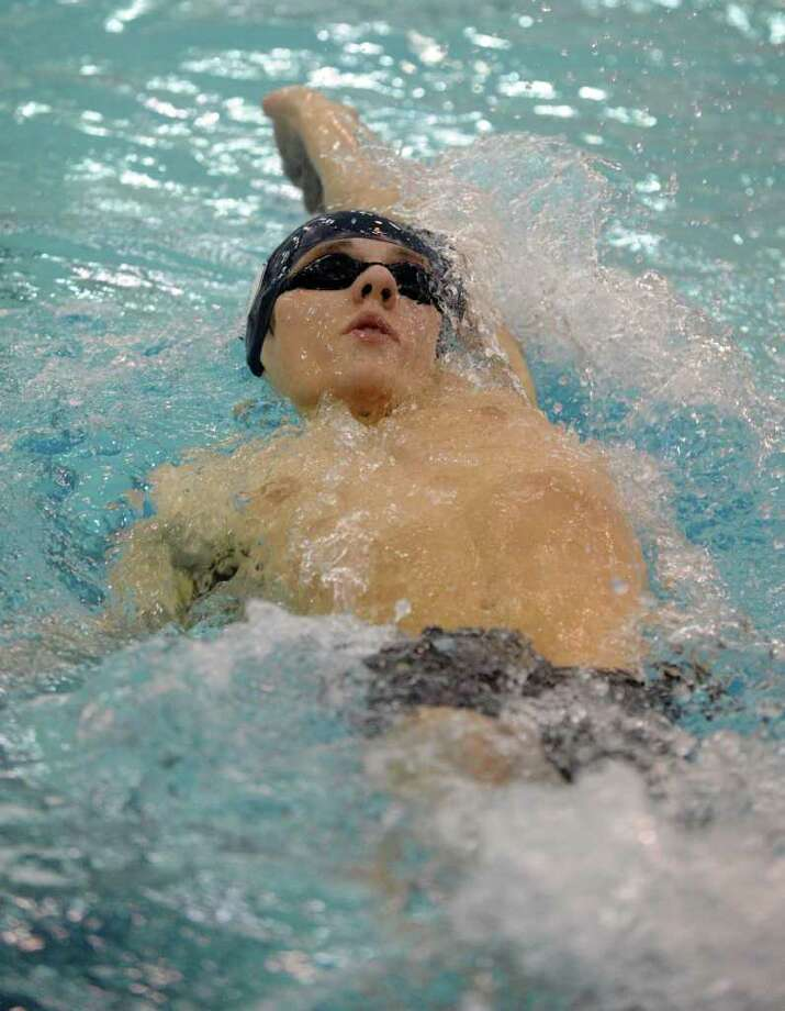 Staples' Joss Abel swims the backstroke in the 200-yard individual medley Thursday. Abel took ninth in the 200-IM in helping the Wreckers take fifth overall. Photo: Keelin Daly, Keelin Daly/Staff Photographer / Stamford Advocate