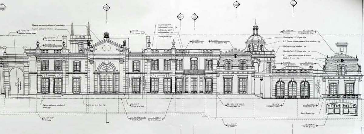 Architectural rendering of the proposed 17,000 square foot mansion at 18 Simmons Lane in midcountry Greenwich. Russian multimillionaires Olga and Valery Kogan submitted the rendering to the Greenwich Planning and Zoning Commission. The Kogans originally proposed a 27,000-square-foot Greek Revival mansion in 2008 with eight bedrooms, a gym, a home theater, a wine cellar, a game room and separate billiard room, parking for up to 12 cars, Turkish and Finnish baths, and 26 bathrooms. The Kogans ultimately scaled the plans down after neighborhood opposition.