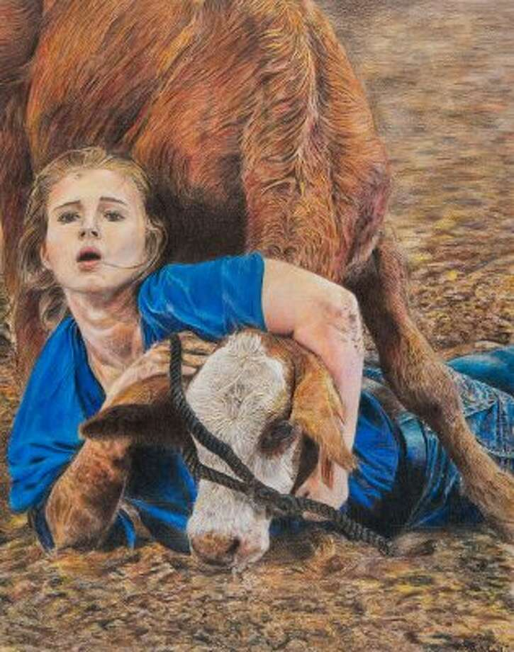"""A True Test of Grit,"" by Ian Aleksander Landry of Brazosport ISD. Houston Livestock Show and Rodeo School Art Program.   (-- / Houston Livestock Show and Rodeo)"