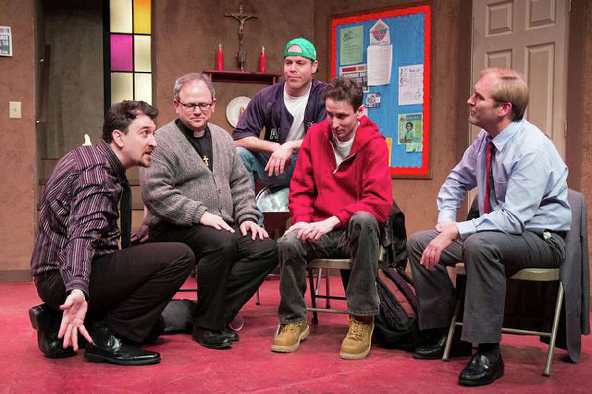 """""""The Irish Curse"""" is on stage at New Milford's TheatreWorks. Left to right in a scene from the show are Michael Wright, Glenn Couture, James Hipp, Charles Roth and Jonathan Ross."""
