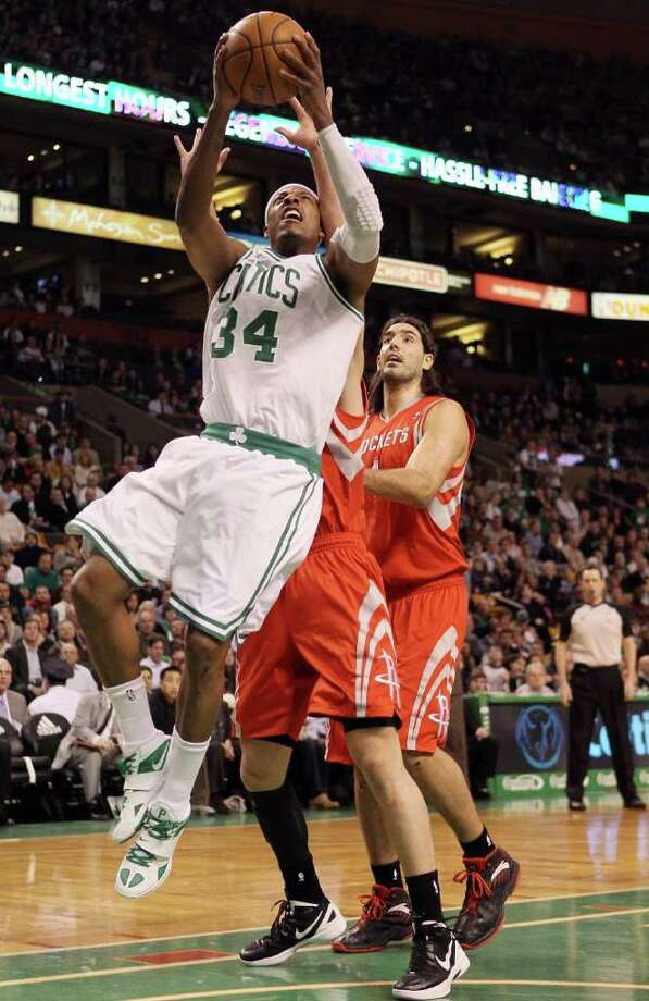 Paul Pierce #34 of the Boston Celtics heads for the net in the first half against the Rockets. Photo: Elsa, Getty Images / 2012 Getty Images