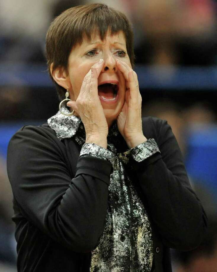 Notre Dame coach Muffet McGraw shouts during the first half of an NCAA college basketball game against Connecticut in the final of the Big East women's tournament in Hartford, Conn., Tuesday, March 6, 2012. (AP Photo/Jessica Hill) Photo: Jessica Hill, Associated Press / AP2012