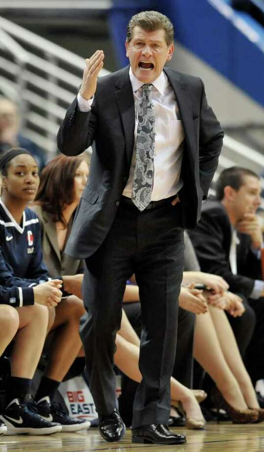 Connecticut coach Geno Auriemma gestures during the first half of an NCAA college basketball game against Notre Dame in the finals of the Big East women's tournament in Hartford, Conn., Tuesday, March 6, 2012. (AP Photo/Jessica Hill) Photo: Jessica Hill, Associated Press / AP2012