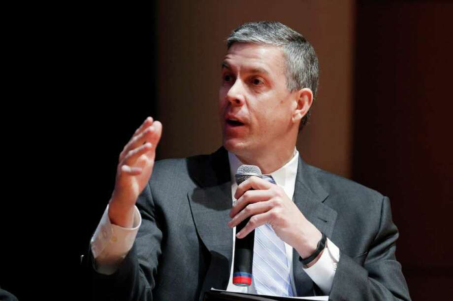 "FILE - In this March 2, 2012 file photo, Education Secretary Arne Duncan speaks during a forum on education at American University in Washington. More than 70 percent of students involved in school-related arrests or cases referred to law enforcement were Hispanic or African-American, according to an Education Department report. It's raising new concerns among civil rights groups about a ""school-to-prison"" pipeline for minorities.  (AP Photo/Jacquelyn Martin, File) Photo: Jacquelyn Martin"