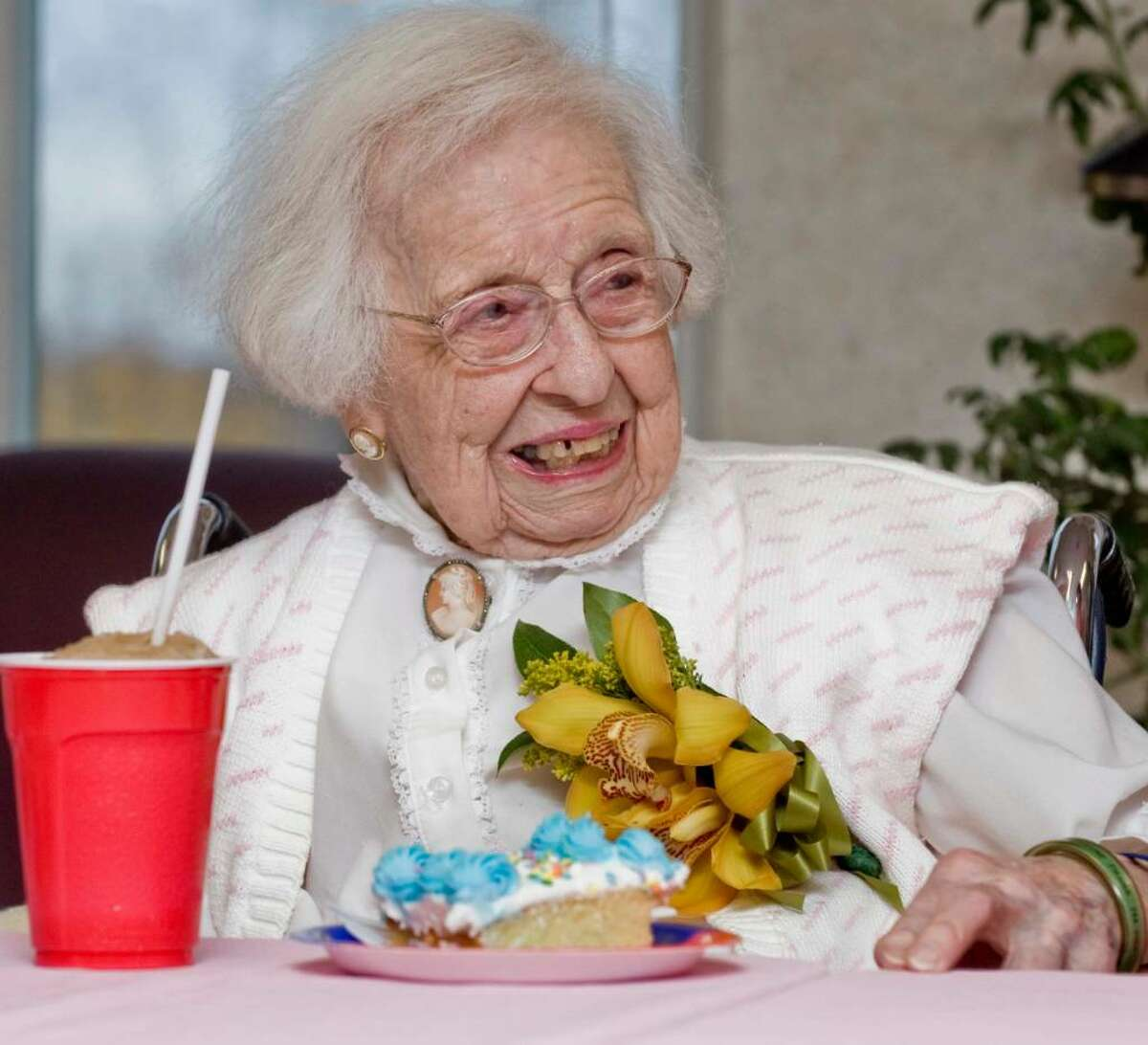Mary Edgett celebrates her 107 birthday with a party at the Filosa Convelescant Home. Wednesday, Nov. 11, 2009