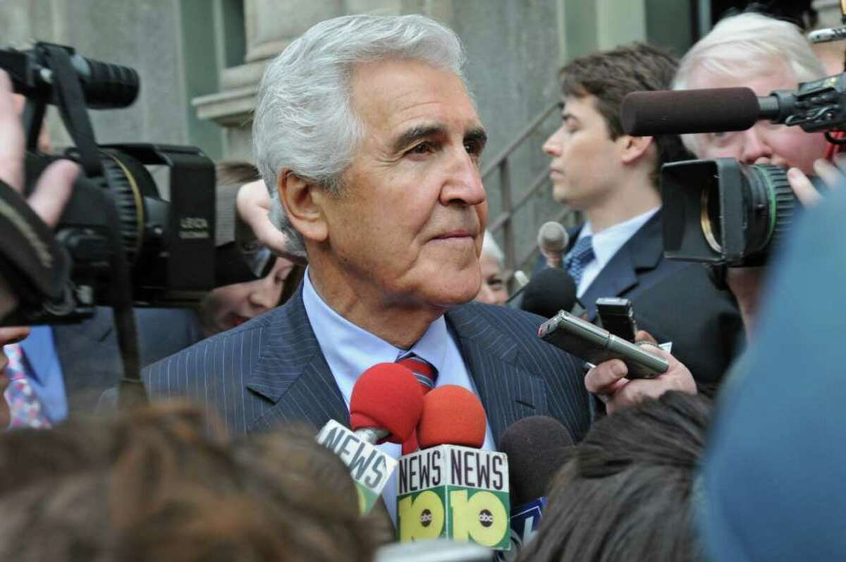 Former state Senate Majority Leader Joseph L. Bruno talks to the press as he walks to Jack's Oyster House after his sentencing in the Federal Court House in Albany, N.Y., on May 6, 2010. (Lori Van Buren / Times Union)