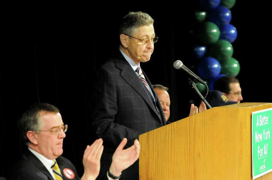 Assembly Speaker Sheldon Silver, center, speaks during New York AFSCME?s annual Albany Lobby Day on Tuesday, March 6, 2012, at the Convention Center in Albany, N.Y. (Cindy Schultz / Times Union) Photo: Cindy Schultz / 00016694A