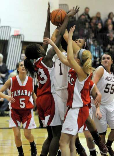 Watervliet's Ailayia Demand fights her way to the basket during their Section II Class B girls' bask