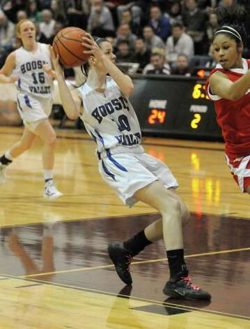 Hoosic Valley's Rayn Nigro drives to the basket during their girl's high school Class C state regional against Moriah in Stillwater,N.Y. March 6,2011 ( Michael P. Farrell/Times Union ) Photo: Michael P. Farrell